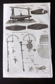 Encyclopaedia Perthensis 1816 Print. Machines for Drawing Bolts of Ships 310